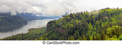 Crown Point on Columbia River Gorge Panorama