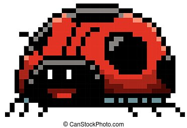 Lady bug - Vector illustration of cartoon Lady bug - Pixel...