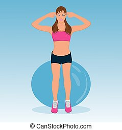 Vector illustration of cute fitness girl with stability ball...