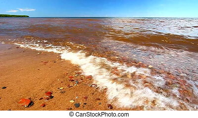 Lake Superior Beach - Lake Superior beach and waves on a...