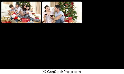 3D animation of happy families celebrating Christmas in HD