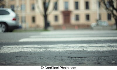 People Crossing Road at a Down View of Transition - People...