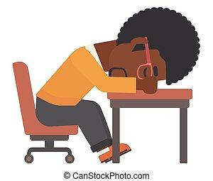 Man sleeping on table. - An african-american man sleeping on...