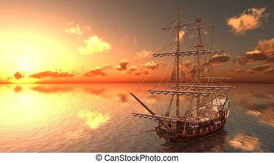 Sailing boat - Image of a sailing boat and sea.
