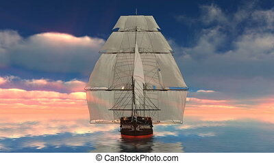 Sailing boat - Image of a sailing boat and sea