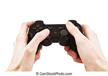 Jogo,  vídeo, controlador, mão