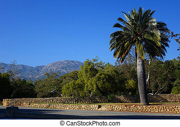 Santa Barbara - California - Mountains and palm trees create...