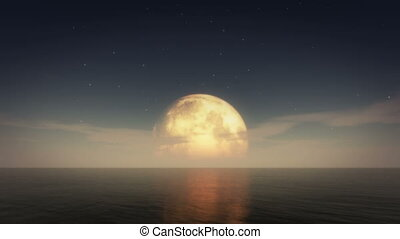 moon night sea 4k