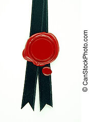 red wax seal black ribbon - round red wax seal on black...