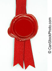 red wax seal red ribbon - round red wax seal on a red ribbon