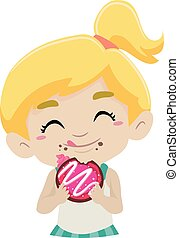 Kid eating Doughnut - Vector Illustration of Kid eating...