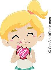 Kid eating Doughnut - Vector Illustration of Kid eating...