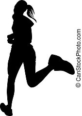 Running jogging woman silhouette