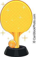 Table Tennis Racket and Ball Trophy
