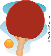 Table Tennis Racket and Ball - Vector Illustration of Table...