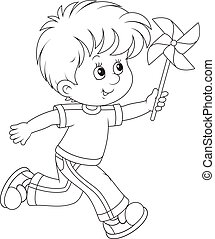 Boy with a whirligig - Black and white vector illustration...