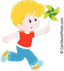 Boy with a whirligig - Vector illustration of a little boy...