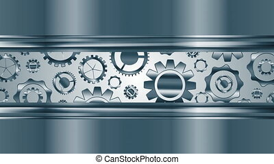 Abstract tech metallic video animation with gears mechanism