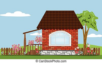 house and flowers in the garden
