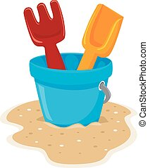 Beach Toys - Vector Illustration of Beach Toys