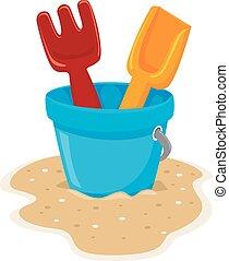 Beach Toys - Vector Illustration of Beach Toys