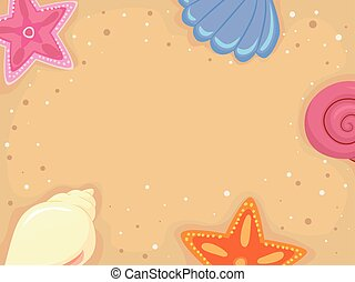 Background Frame of Sand Sea Shells - Vector Illustration of...
