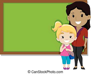 Student and Teacher in front of Black Board
