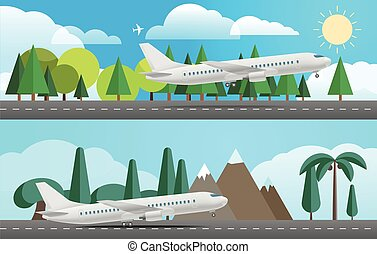 Aircraft in different countries. Flat design illustration
