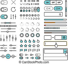 Different style trendy interface vector elements and...