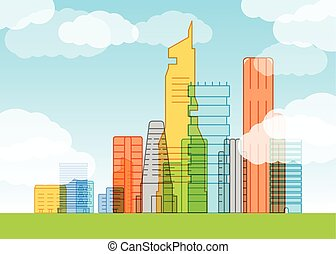 Modern city illustration Lineart concept
