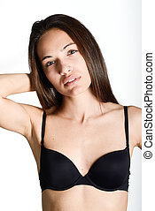 Beautiful young woman without make-up on white background -...