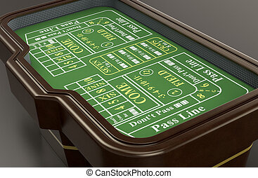 gambling, craps game - craps table on dark background 3d...