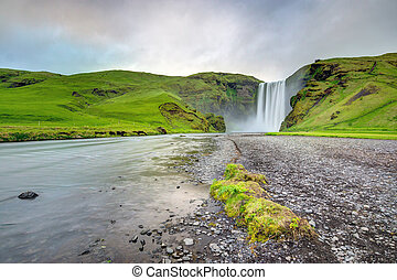 The Skogafoss waterfall in Iceland - The famous Skogafoss...
