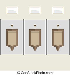 Flat Design Men's Urinal Row. - Flat Design Men's Urinal Row...