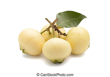 Syzygium jambos or rose apple isolated on white background...