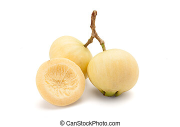 Syzygium jambos or rose apple isolated on white background