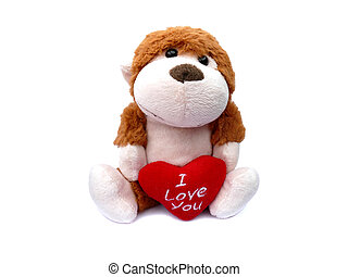 Stuffed monkey animal with heart I love you isolated on white
