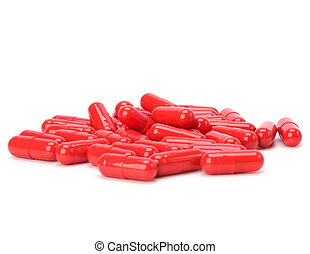 red capsules isolated on white background