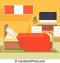 Bedroom interior. Bedroom design. Bedroom furniture. Orange...