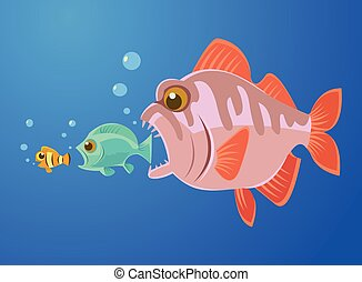 Big fish eat small fish. Vector flat cartoon illustration
