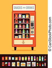Vending machine with food. Vector flat cartoon illustration