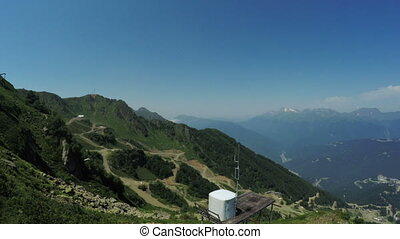 Cell phone towers in mountains - View from ski lift to tower...