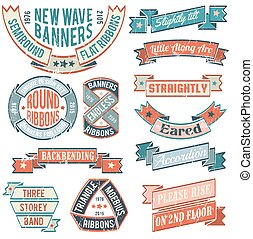 Print - Vintage banners, ribbons, stickers, with examples of...