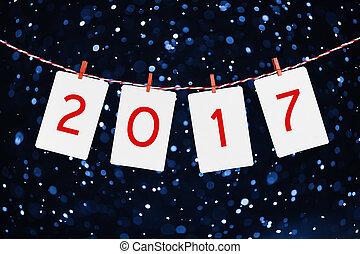 foto, soga, nevada, o, papel, marcos, Plano de fondo, figuras, año, ahorcadura, nuevo, rayado,  2017, rojo, diseño