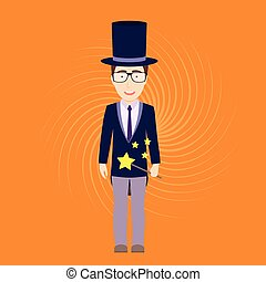 Magician with Magic Stick - Vector Flat Illustration of...