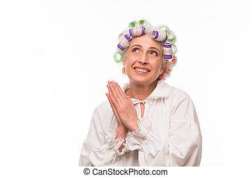 Grandmother in studio - Happy grandmother posing in studio...