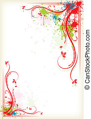 Splashing colorful floral frame, eps10 vector illustration