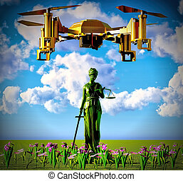 Themis and drone - Conceptual 3d illustration about law...