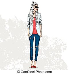 trendy color look - High trendy color look .Glamor stylish...