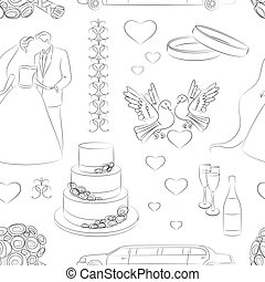 Wedding day pattern Love- heart- rings -limuzin- cake and...